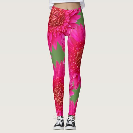 Large Pink Flowers on Green Background Leggings