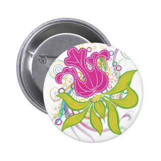 Large Pink Water Lilly 6 Cm Round Badge