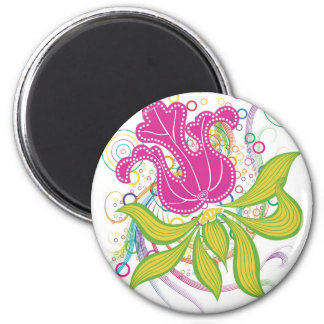 Large Pink Water Lilly 6 Cm Round Magnet