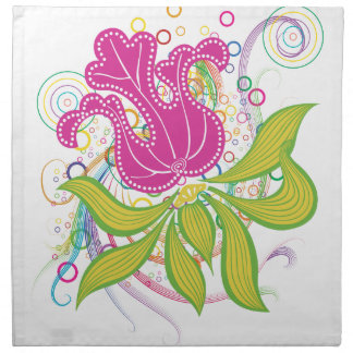 Large Pink Water Lilly Printed Napkin