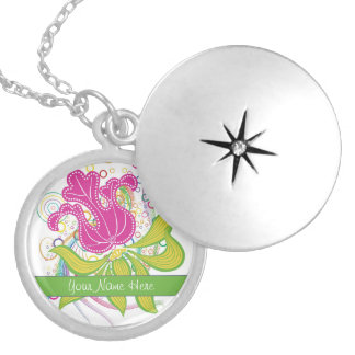 Large Pink Water Lilly Round Locket Necklace