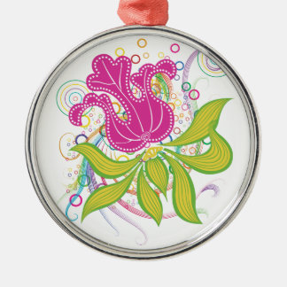 Large Pink Water Lilly Silver-Colored Round Decoration