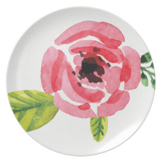 Large Pink Watercolor Flower | Melamine Plate