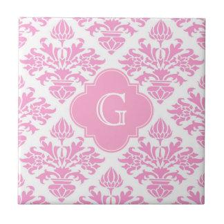 Large Pink White Floral Damask Pink Monogram Label Small Square Tile