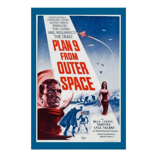 Large Plan 9 From Outer Space Vintage Movie Poster
