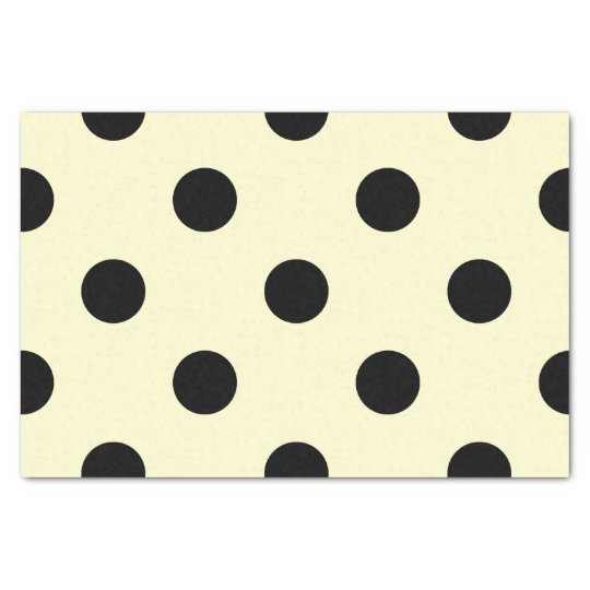 Large Polka Dots - Black on Cream Tissue Paper