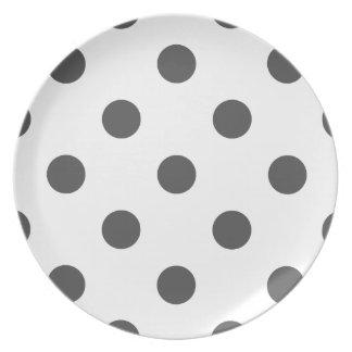 Large Polka Dots - Dark Gray on White Dinner Plates