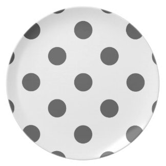 Large Polka Dots - Dark Gray on White Plate