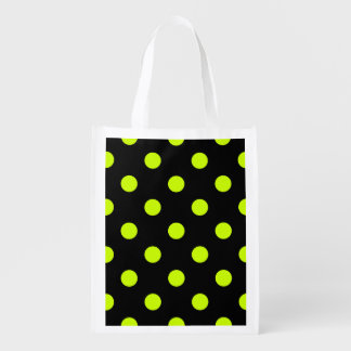 Large Polka Dots - Fluorescent Yellow on Black