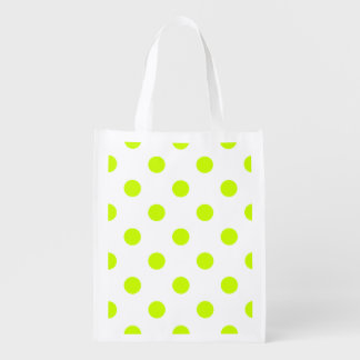Large Polka Dots - Fluorescent Yellow on White