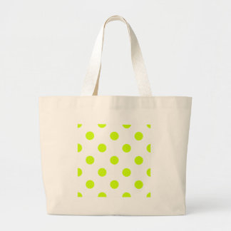 Large Polka Dots - Fluorescent Yellow on White Jumbo Tote Bag