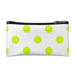 Large Polka Dots - Fluorescent Yellow on White Makeup Bag