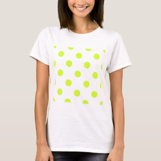 Large Polka Dots - Fluorescent Yellow on White T-Shirt