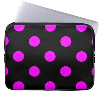 Large Polka Dots - Fuchsia on Black Laptop Sleeve