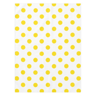 Large Polka Dots - Golden Yellow on White Tablecloth