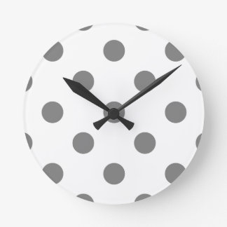 Large Polka Dots - Gray on White Round Clock