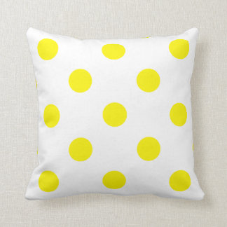 Large Polka Dots - Lemon on White Cushion