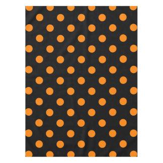 Large Polka Dots - Orange on Black Tablecloth