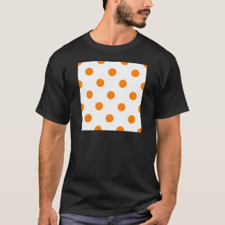 Large Polka Dots - Orange on White T-Shirt