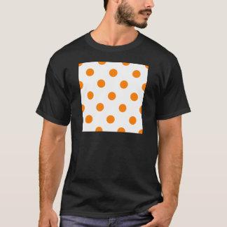 Large Polka Dots - Orange on White T-Shirt