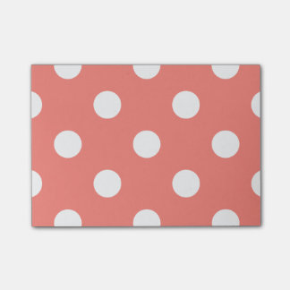 Large Polka Dots - White on Coral Pink Post-it Notes