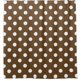 Large Polka Dots - White on Dark Brown Shower Curtain