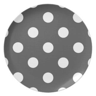 Large Polka Dots - White on Dark Gray Dinner Plate