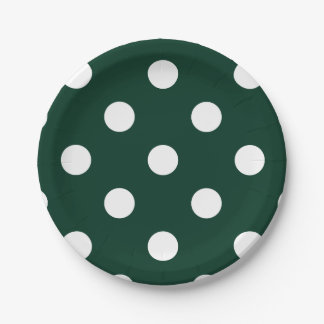 Large Polka Dots - White on Dark Green 7 Inch Paper Plate