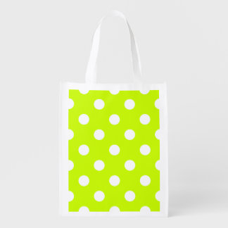 Large Polka Dots - White on Fluorescent Yellow