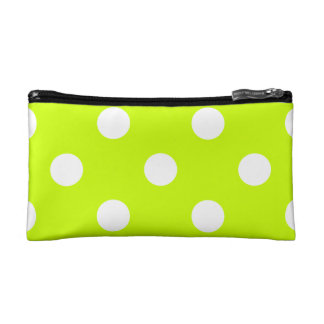 Large Polka Dots - White on Fluorescent Yellow Makeup Bag