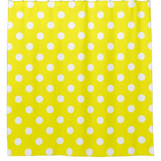 Large Polka Dots - White on Lemon Yellow Shower Curtain