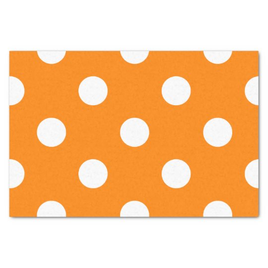 Large Polka Dots - White on Orange Tissue