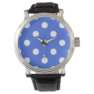 Large Polka Dots - White on Royal Blue Watch