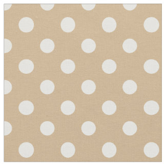 Large Polka Dots - White on Tan Fabric