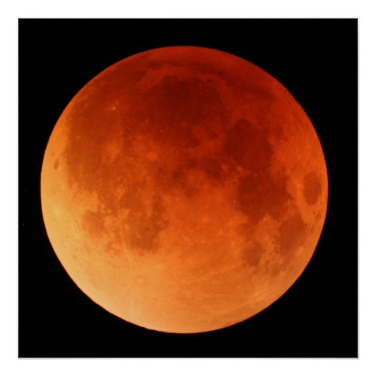 Large poster of the 2011 Lunar Eclipse red