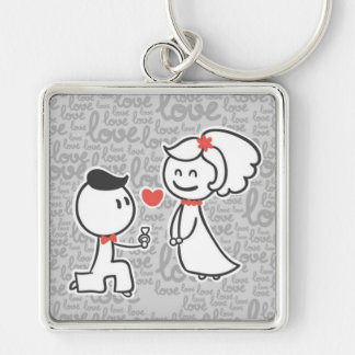 Large Premium Square Keychain/Couple Silver-Colored Square Key Ring