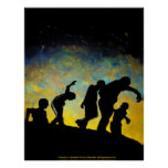 LARGE Procession to Breakfast Zombie Canvas Print