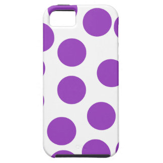 Large Purple Dots on White. Custom Case For The iPhone 5