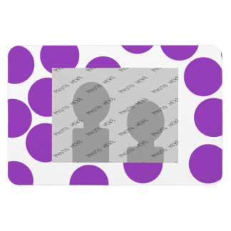 Large Purple Dots on White. Custom Rectangular Photo Magnet