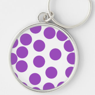 Large Purple Dots on White. Silver-Colored Round Key Ring