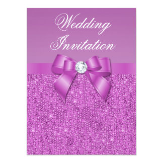Large Radiant Orchid Sequins Bow & Diamond Wedding Card