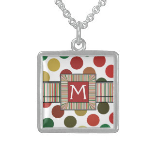 Large Red And Gold Polkadots Pattern With Initial Sterling Silver Necklace