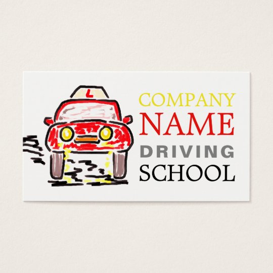 Large Red Cartoon Car Logo, Driving Instructor Business