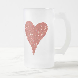 Large Red Heart Frosted Glass Beer Mug