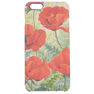 Large Red Poppies Clear iPhone 6 Plus Case