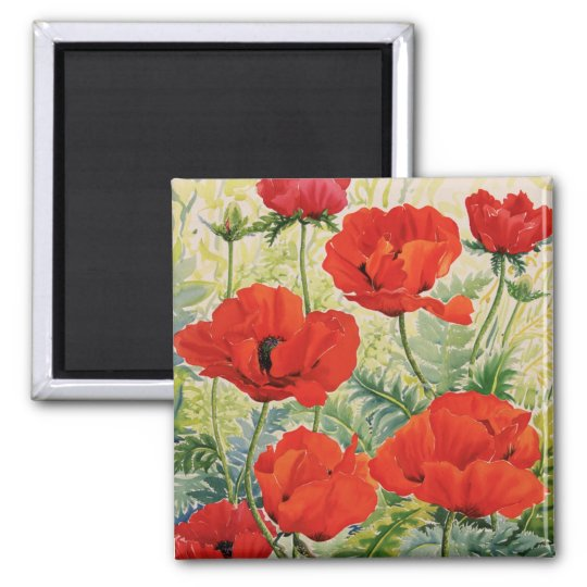 Large Red Poppies Magnet