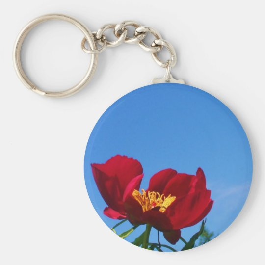 Large Red Poppy Photo Key Ring