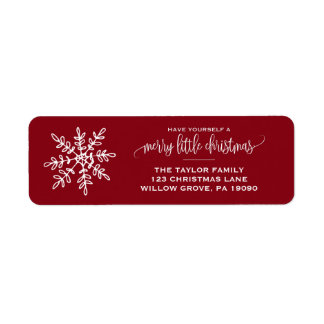 Large Red Snowflake Christmas Return Address Label