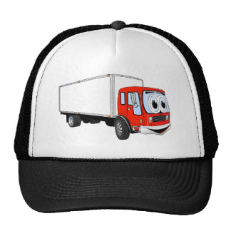 Large Red White Delivery Truck Cartoon Mesh Hat