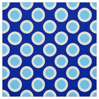 Large Retro circled dots, cobalt blue and white Fabric